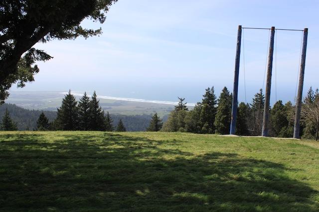 A swing overlooks the ocean